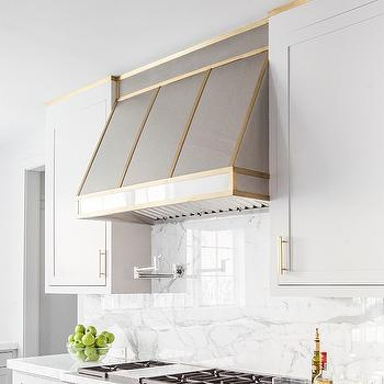 Perfect Stainless Steel Kitchen Hood With Brass Trim