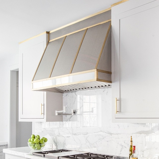 White Kitchen Hood brass kitchen hood design ideas