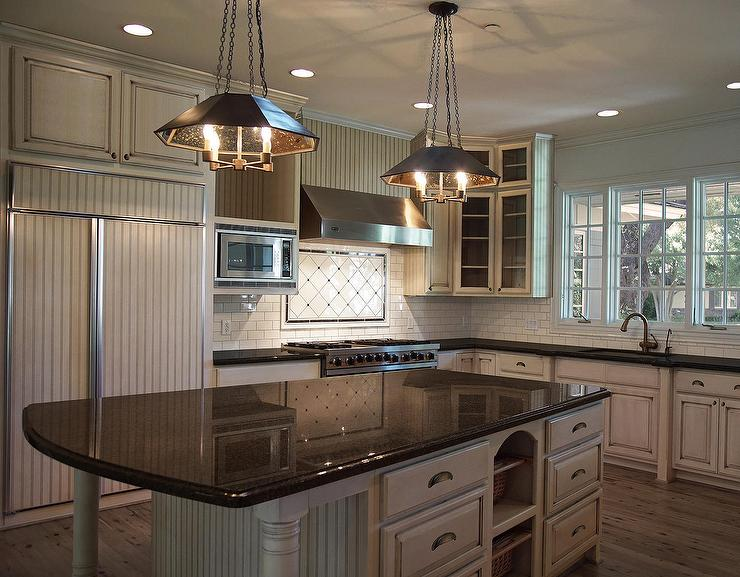 White Glazed Kitchen Subway Tiles Transitional Kitchen