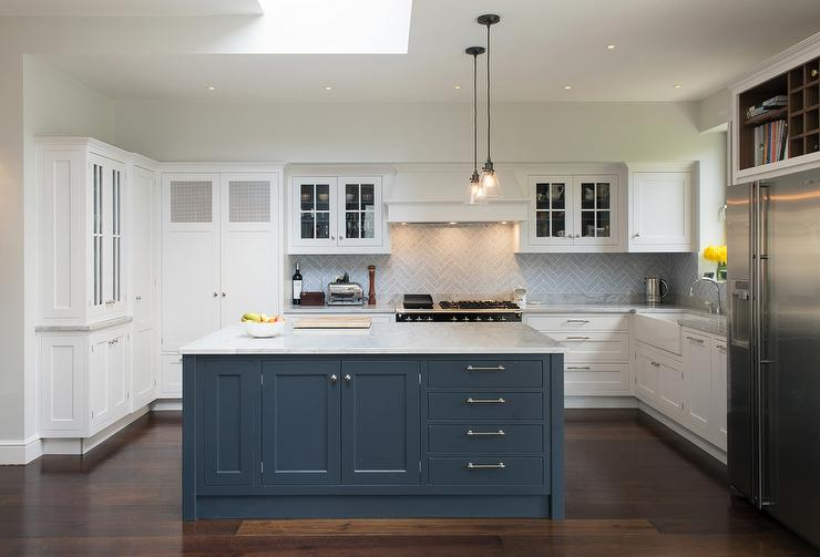 White Kitchen With Blue Island Transitional Kitchen