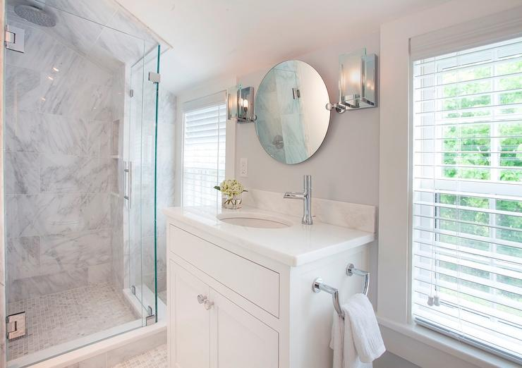 White Vanity With Round Pivot Mirror Cottage Bathroom
