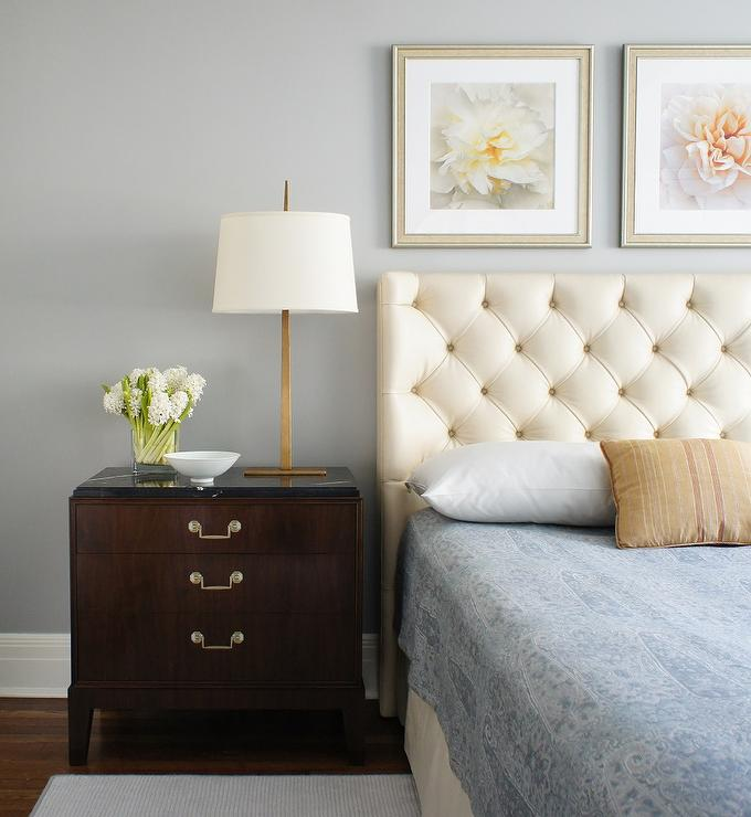 Cream nightstand design ideas for Leather headboard designs