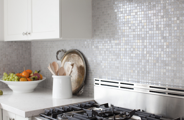 Gray Iridescent Tile Backsplash View Full Size