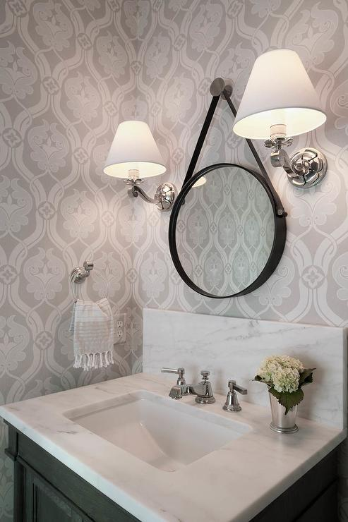 Black And White Powder Room With Cole And Son Summer Lily
