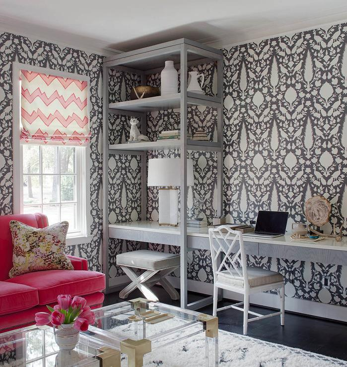 Interior design inspiration photos by rethink design studio for Schumacher chenonceau charcoal wallpaper