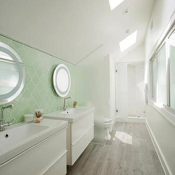 Galley bathroom with double vanity sink cottage bathroom for Small bathroom with sloped ceiling