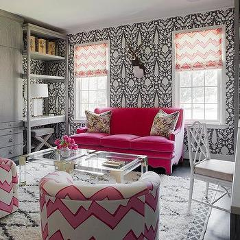 Pink and grey office design for Schumacher chenonceau charcoal wallpaper