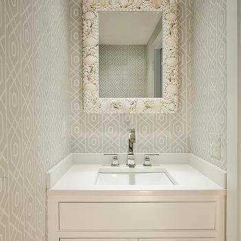 Powder Room Design Ideas 4 tags cottage powder room with portsmouth pedestal bathroom sink set by american standard custom mirrors Gray Powder Room With Seashell Mirror