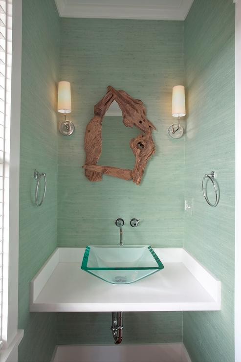 Powder Room with Mint Green Grasscloth - Cottage - Bathroom