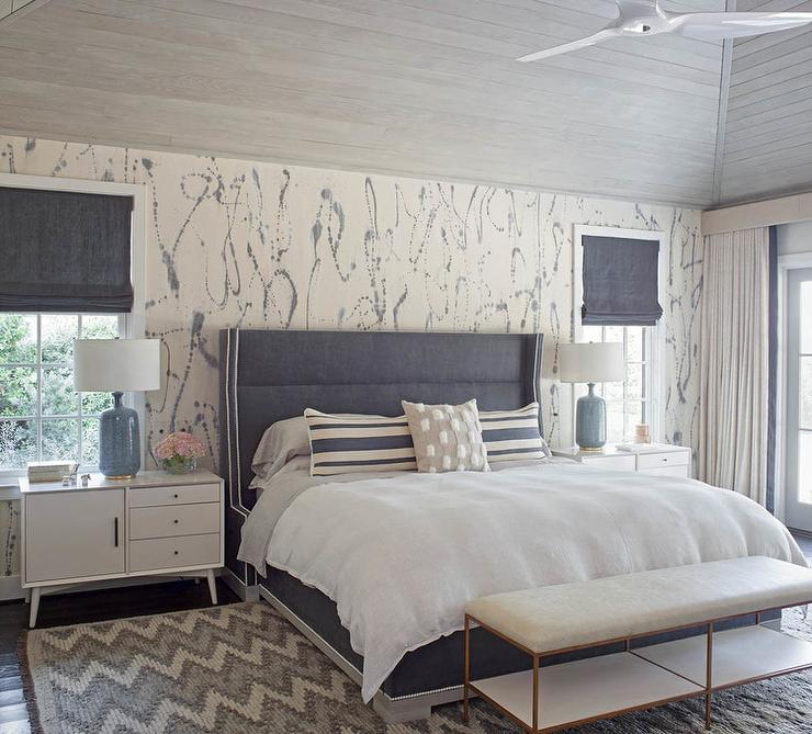 Gray headboard with white marble lamp transitional bedroom for Blue and white bedroom wallpaper