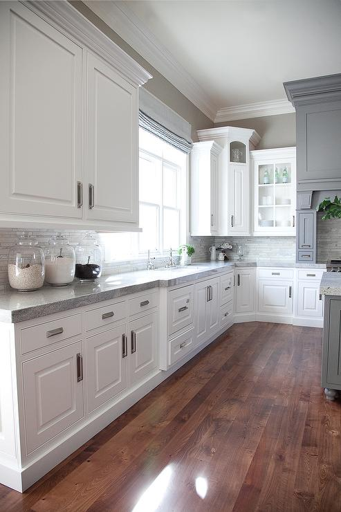 Gray and white kitchen design transitional kitchen for Grey and white kitchen cabinets
