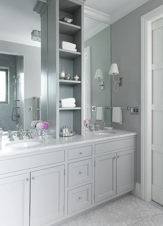Grey Master Bathroom Features Gray Shaker Washstands Topped With White Marble Ed His And Her Sinks Under Full Height Frameless Mirrors Flanking A
