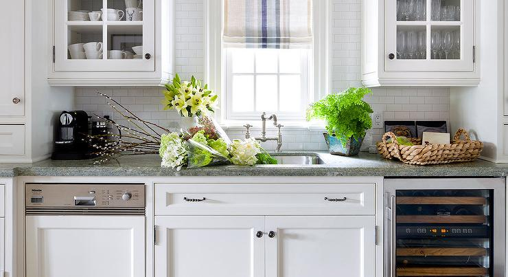 white mini subway tiled kitchen backsplash cottage kitchen
