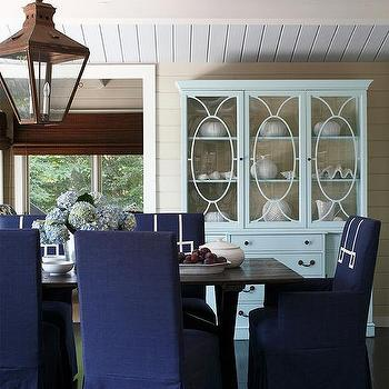 Cottage Dining Room With Blue Slipcovered Chairs
