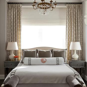 Brown bedroom with french marble top nightstand for Brown and cream bedroom ideas