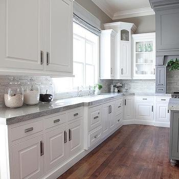 Grey Kitchen Cabinets White Countertops Design Ideas