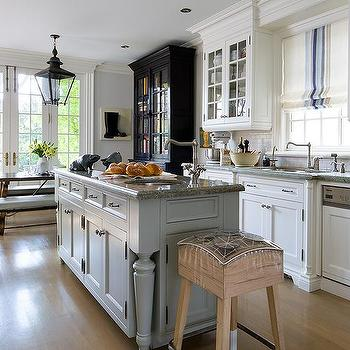 Grey Kitchen Island With Grey Granite Countertop