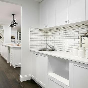 White butler pantry with stainless steel mini brick tile backsplash contemporary kitchen - White brick tiles black grout ...