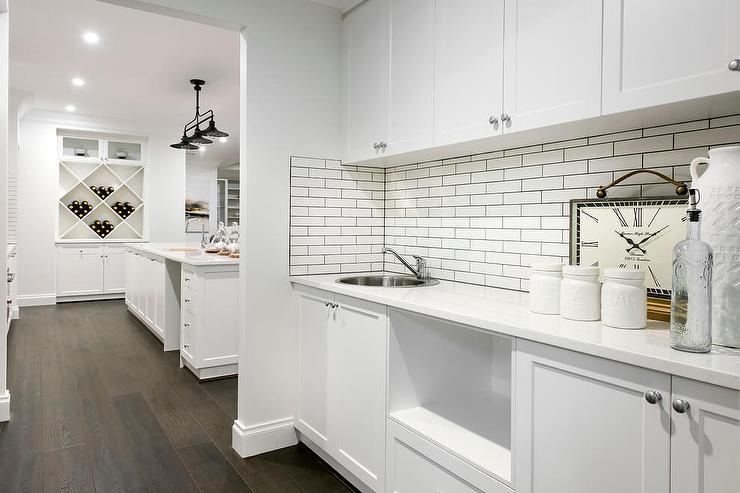White butler pantry design transitional kitchen - White kitchen brick tiles ...