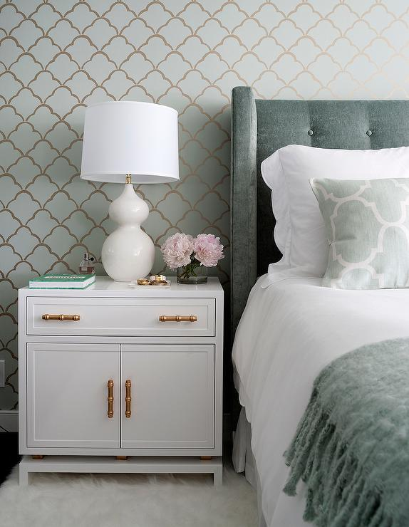 White Nightstand with Gold Bamboo Pulls - Transitional - Bedroom