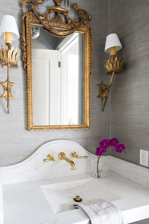 Gray And Gold Powder Room Design Transitional Bathroom