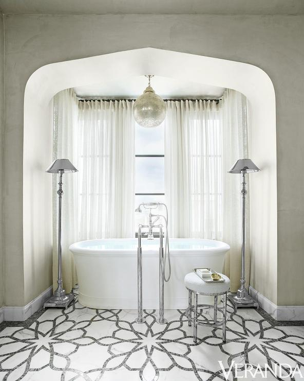 Arched Tub Alcove With Oval Tub Transitional Bathroom