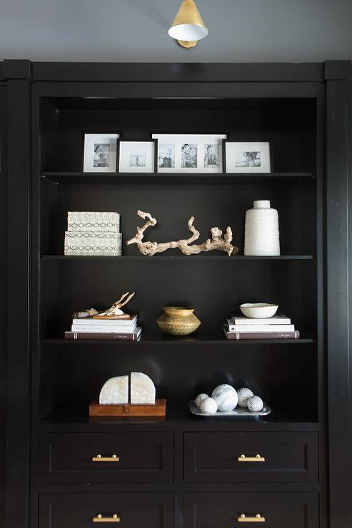 Black Built In Cabinets With Brass Pulls Transitional