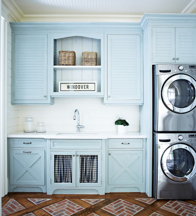 Blue louvered laundry room cabinets cottage laundry room for Laundry room cabinets