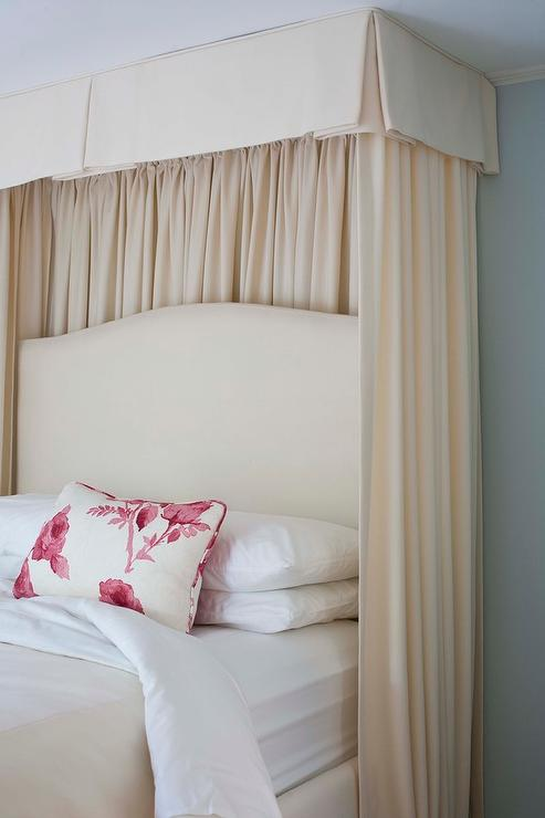 valance and curtains behind bed transitional bedroom