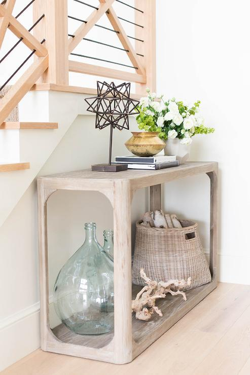 Staircase wall console table transitional entrance foyer for Furniture for curved wall in foyer