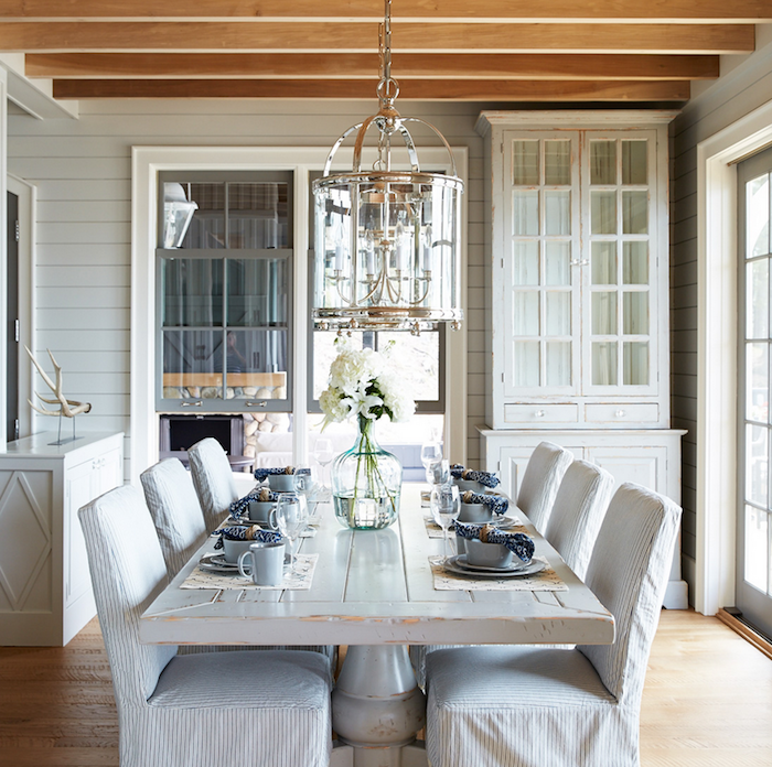 Whitewashed Dining Table with Slipcovered Chairs - Cottage ...