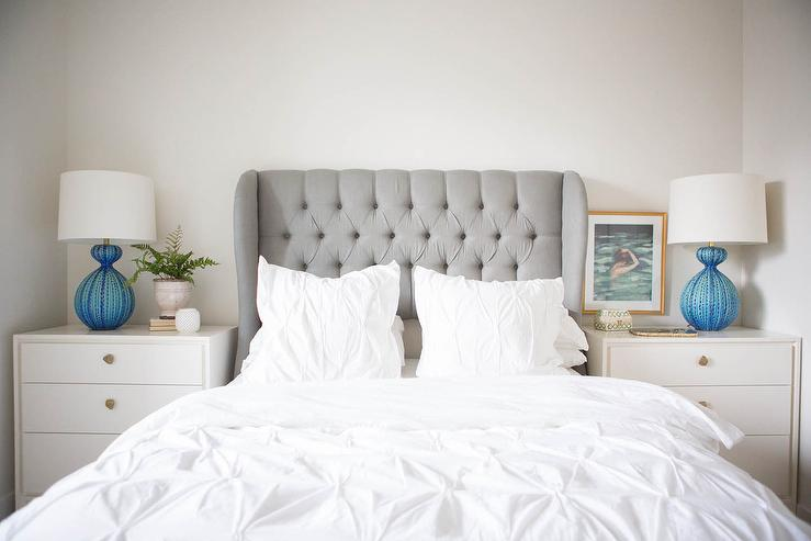 Dove Grey Velvet Wingback Headboard Transitional Bedroom