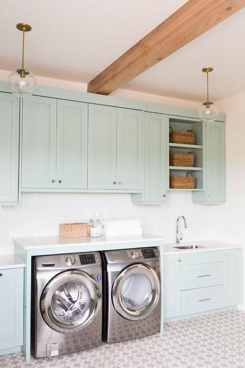 Green laundry room cabinets transitional laundry room Laundry room design