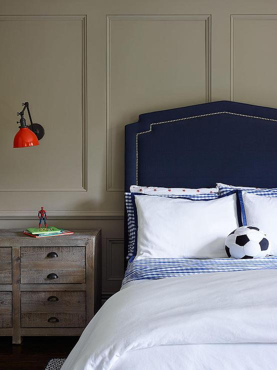 Kids Navy Nailhead Headboard Transitional Boy S Room