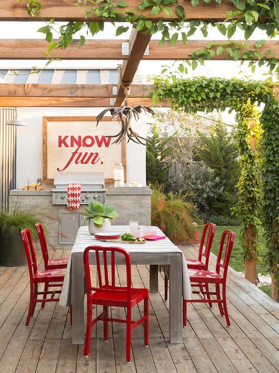 Outdoor Dining Table with Red Dining ChairsOutdoor Dining Table with Red Dining Chairs   Transitional   Deck  . Red Dining Chairs And Table. Home Design Ideas