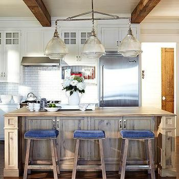 Blue Velvet Island Stools & White and Blue Kitchen with White Leather Stools with Brass ... islam-shia.org