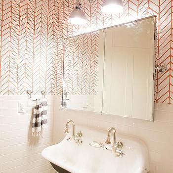 Black And White Trough Sink Under Rectangular Pivot Mirror