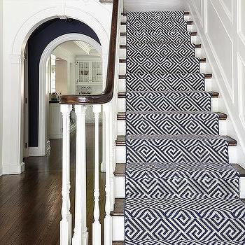 Navy Geometric Stair Runner