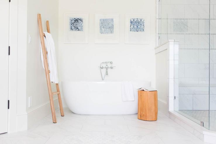 Freestanding Tub With Bamboo Towel Ladder Transitional