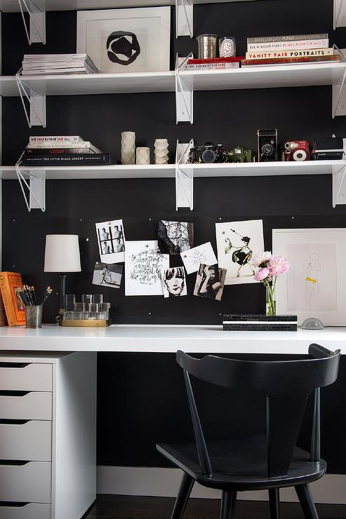 Black Office Walls With White Desk Contemporary Den