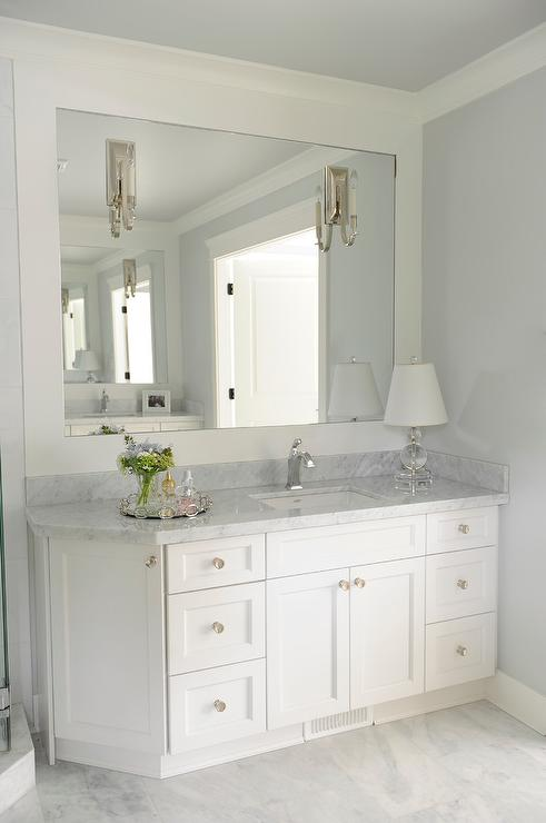 bathroom vanity with angled cabinet transitional bathroom