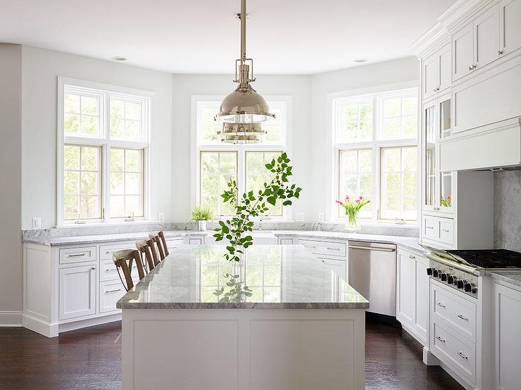 Beautiful Kitchen Features Restoration Hardware Harmon Pendants  Illuminating A White Center Island Topped With White Fantasy Quartzite  Lined With Three ...