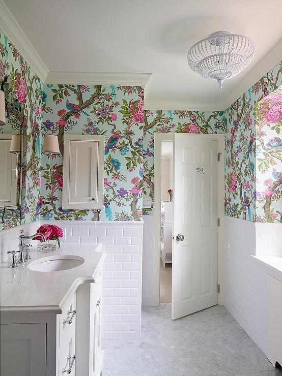 Cole And Son Fontainebleau Wallpaper Transitional Bathroom
