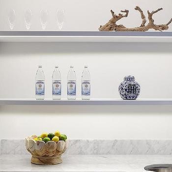 White Stacked Floating Kitchen Shelves Design Ideas