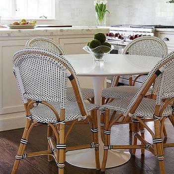 Marble Saarinen Dining Table With French Bistro Chairs