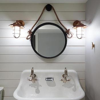 Nautical Boys Bathroom With Rope Mirror