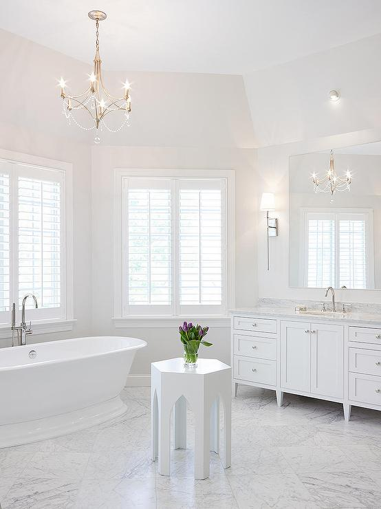 Nickel And Beaded Chandelier Over Tub Transitional
