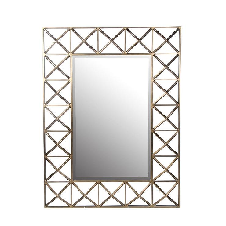 Privilege square beveled glass gold wall mirror for Beveled glass mirror