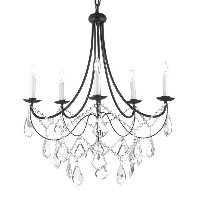 Rustic Crystal Chandeliers 5-light wrought black iron and crystal chandelier