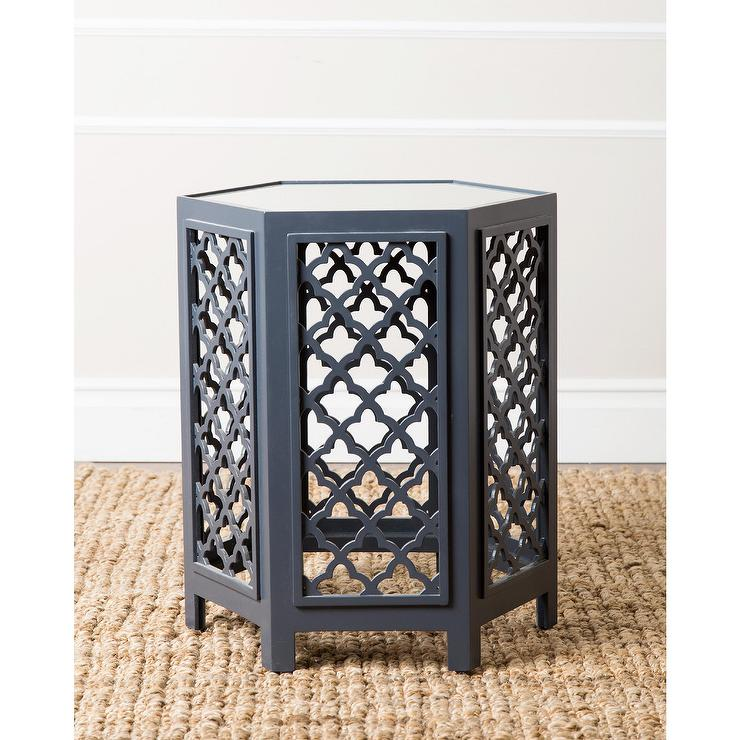 Abbyson Living Daytona Blue Mirrored End Table View Full Size